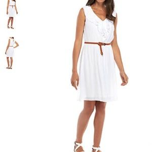AGB White Gauze Dress w/ Brown Belt